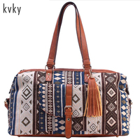 2017 High Quality National Style Printed Flowers Travel Bags Large Size Beach Bags Leather Tassel Holiday
