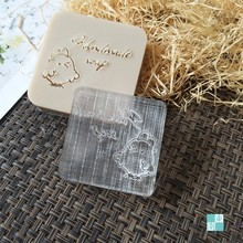 free shipping natural handmade acrylic soap seal stamp mold chapter mini diy the chicken patterns organic glass 4X4 cm 0349