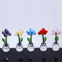 1 pcs Nordic Flower Creative Gift Crystal Glass Ornaments Home Decor Miniature Spring Flowers Figurines Wedding Decoration Craft