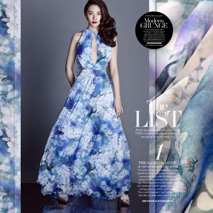 140cm bred 8mm hvit orkidé print blå tynn silk chiffong stoff til - Kunst, håndverk og sying - Bilde 1