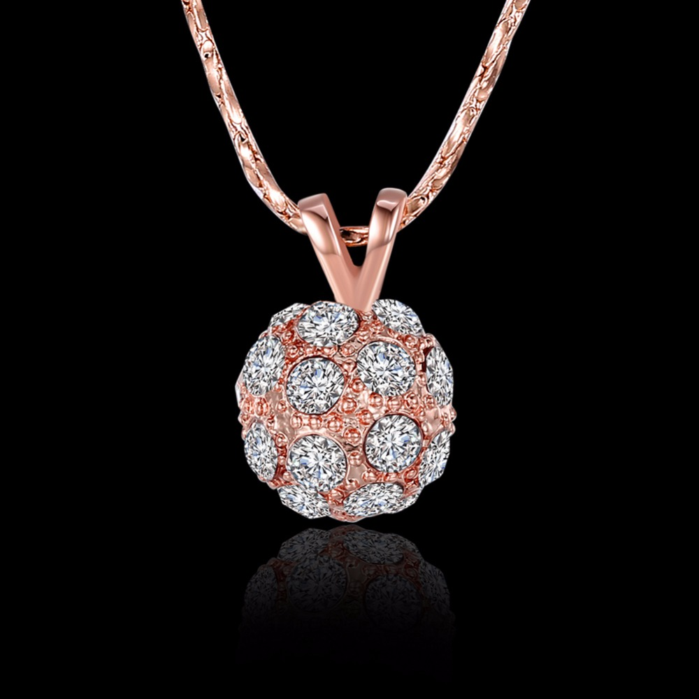 DFN252 Lucky Beads Rose Gold Pated Charm Necklaces & Pendants Fashion Brand Jewelry For Women Crystal Snake Chain Colares