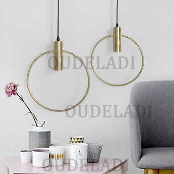 Modern Gold single ring Pendant Light For Lobby Dining Room Arts Decoration lighting Antique Simple Pendant Lamp E27