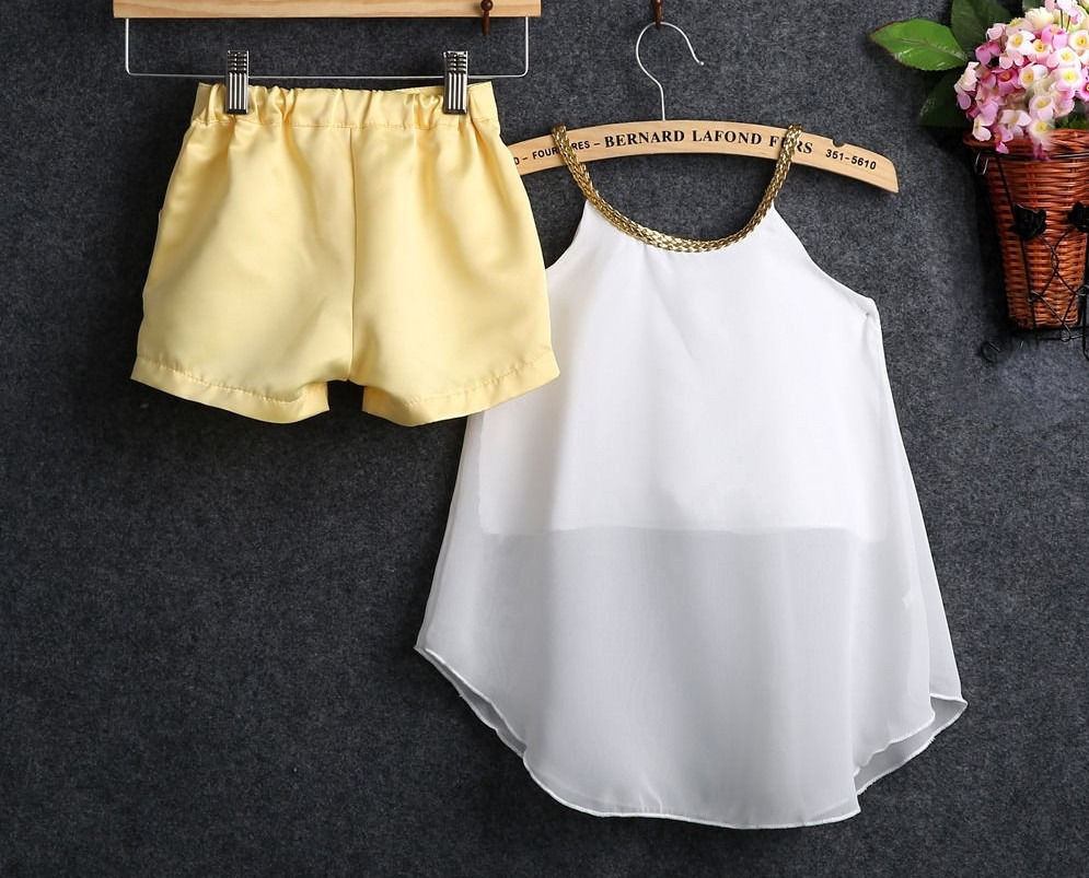 2PCS Kids Toddler Girl Summer Chiffon Top Shirt Shorts Outfits Set Babys Sleeveless Fashion Cute Clothes Baby Clothing Sets женские блузки и рубашки women chiffon shirt blouse 2015 roupas femininas women chiffon shirt 086