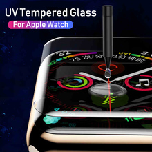 BoeYink 6D UV Tempered Glass Screen Protector For Apple Watch 4 Full Cover UV Glue 40 44MM Film 1 2 3 38 42MM Screen Protector