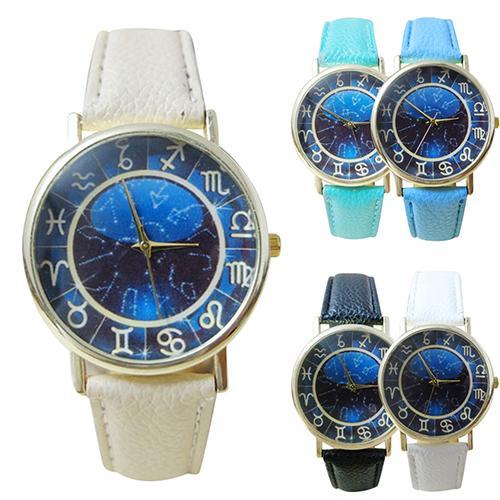 2019 Women\'s Men\'s Constellation Symbol Faux Leather Band Quartz Analog Wrist Watch
