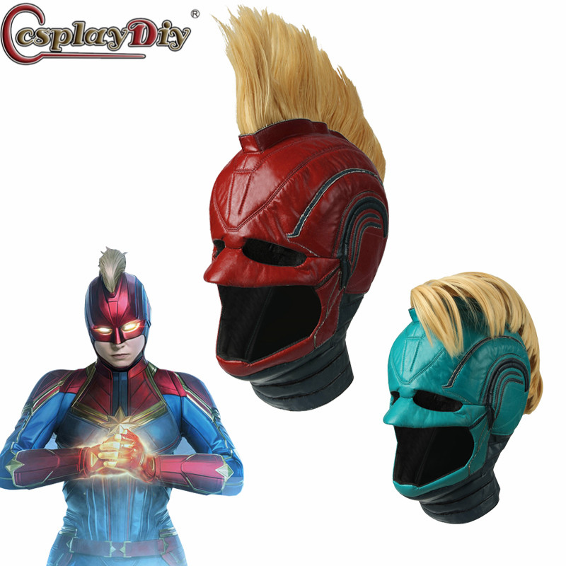 Cosplaydiy Spandex Leather Helmet Captain Marvel Carol Danvers Superohero Mask Women Cosplay Helmet Costume Halloween Party Prop