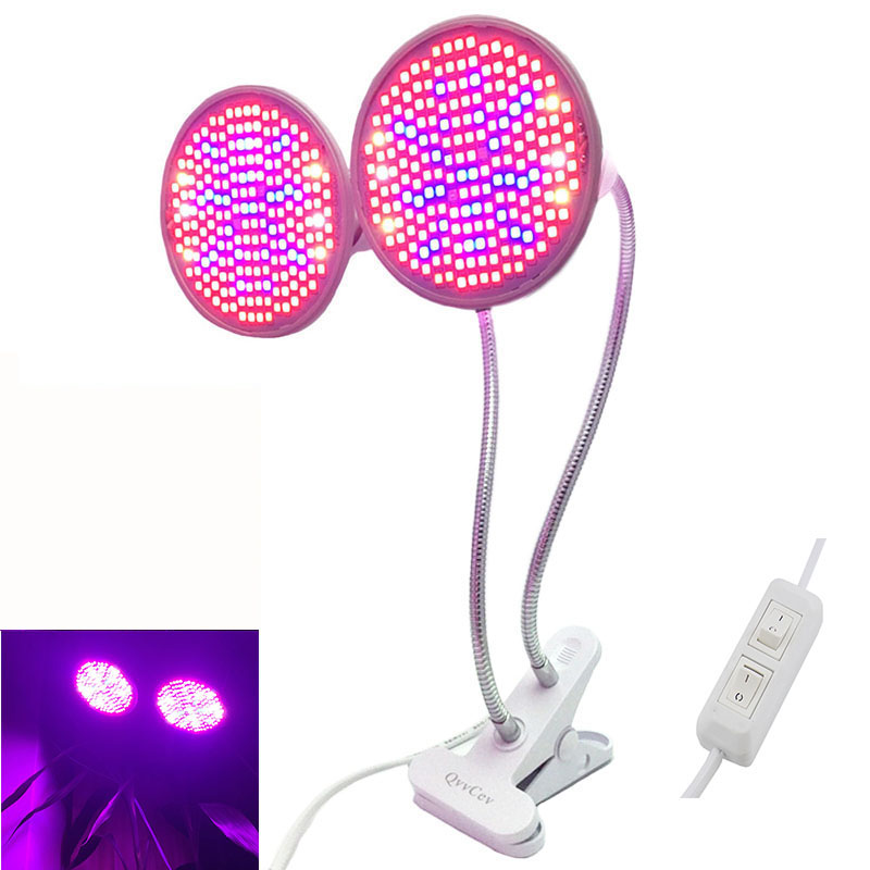 Dual Head 200 Led Full Spectrum Plant Grow Light E27 Bulbs Growing Lights Lamp Desk Clip Indoor Room Garden Flowers Greenhouse