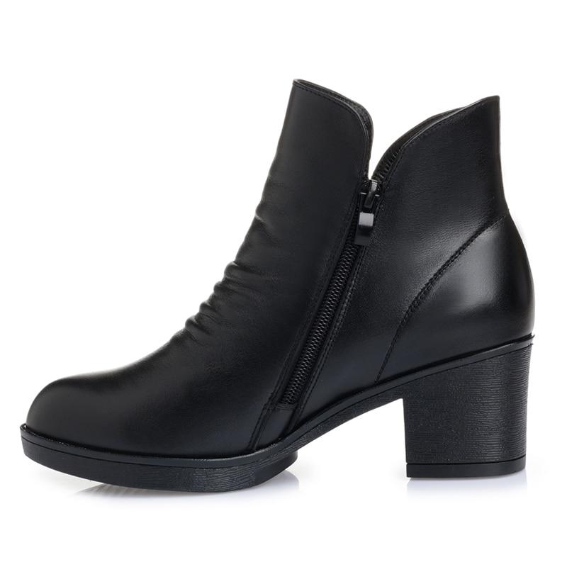 Genuino Mujer 100 Tacón De Timetang Invierno Tobillo Alto Tamaño Negro Cuero Vaca Caliente E Zapatos Botas Gran Grueso Otoño 2018 w7YqBf