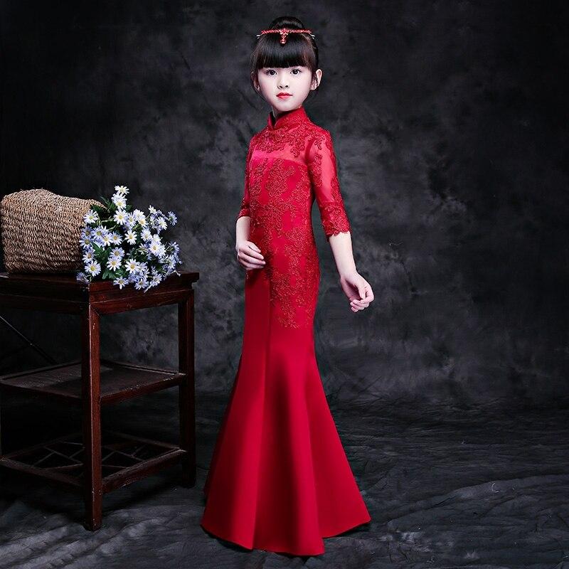 Кружевное Вечернее Платье, красное платье Русалочки в пол, платье с цветами для девочек, детское платье с рукавом три четверти, A116