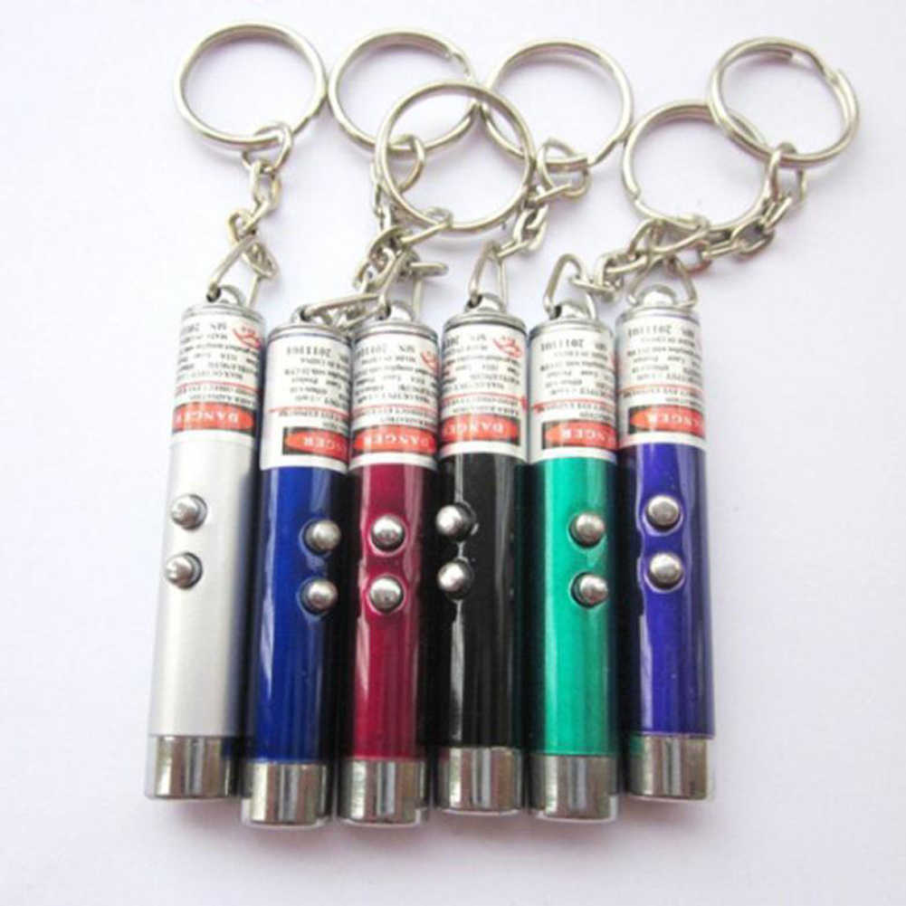 3 in 1 Mini LED Flashlight with Keychain White/Red/Blue  Pen Pointer Beam Infrared UV Torch Emergency Lamp for Camping