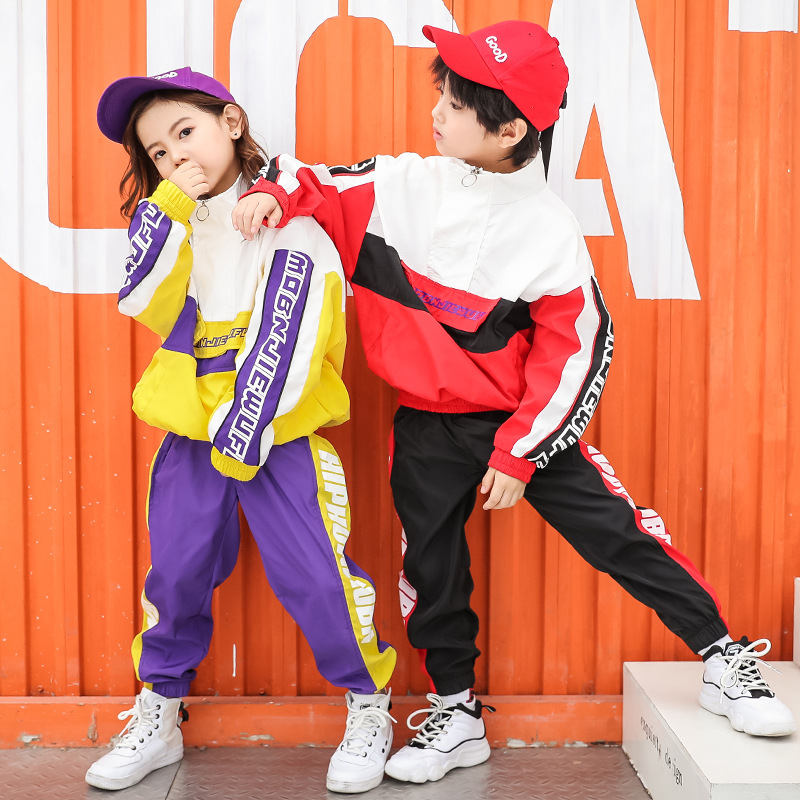 Kid Hip Hop Clothing Running Jacket Coat Tops Casual Pants For Girls Boys Jazz Dance Clothes Costume Ballroom Dancing Streetwear