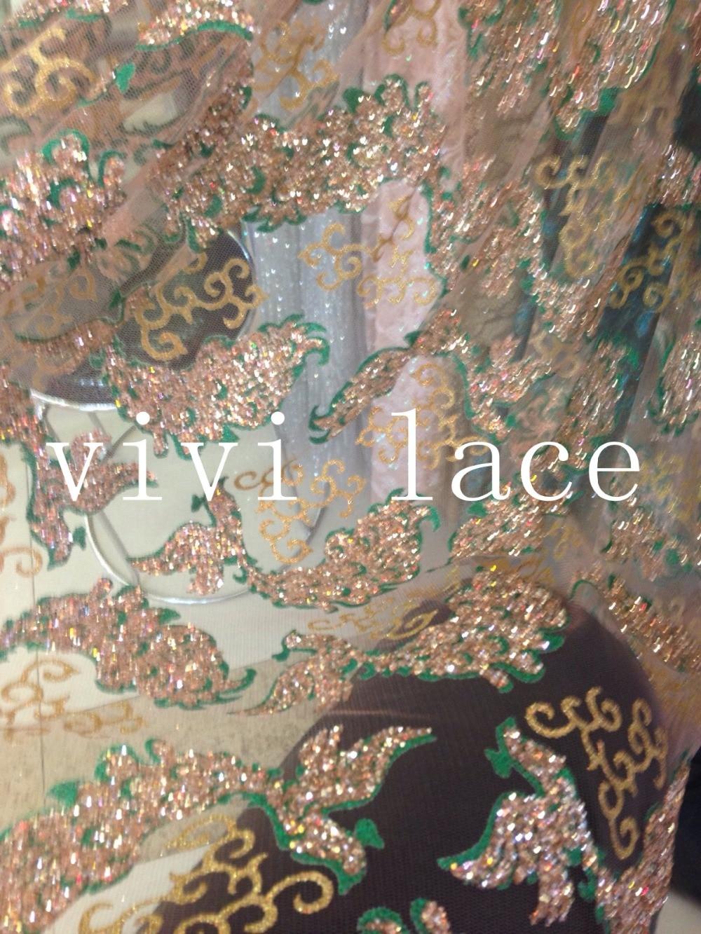 5 yards HL333 tüll hand print glitter afrikanischen stoff für hochzeitskleid/abendkleid/, durch dhl