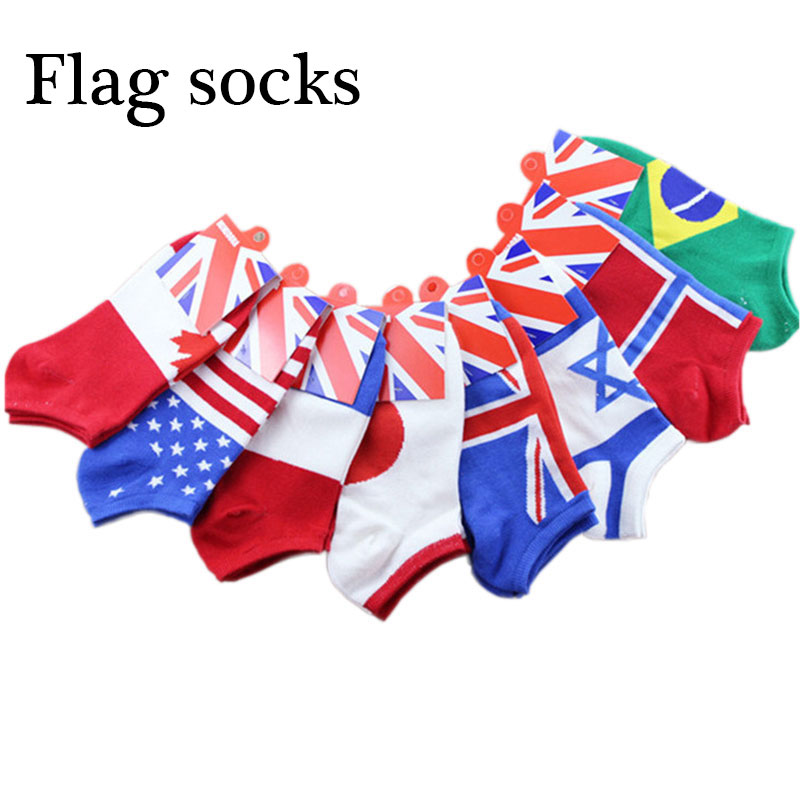 New personality   socks   men's boat   socks   cotton   socks   summer thin section men's flag   socks   shallow mouth for men and women