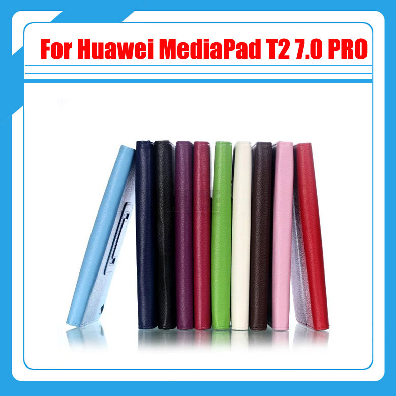 Pu Leather Litchi Stand PU Leather Cover Smart Case For Huawei MediaPad T2 7.0 PRO M2 PLE-703L Tablet + Screen Protectors for mediapad m2 ultra thin smart filp pu leather case cover for huawei mediapad m2 7 tablet case stand cover protective stand