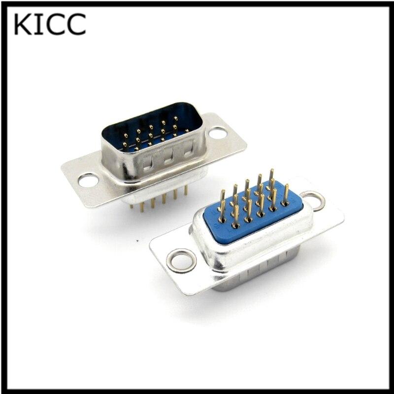 5Pcs DP15 pin Male Insert plate type PCB D-Sub Connector VGA serial port DB15 adapter 3 row foot шорты