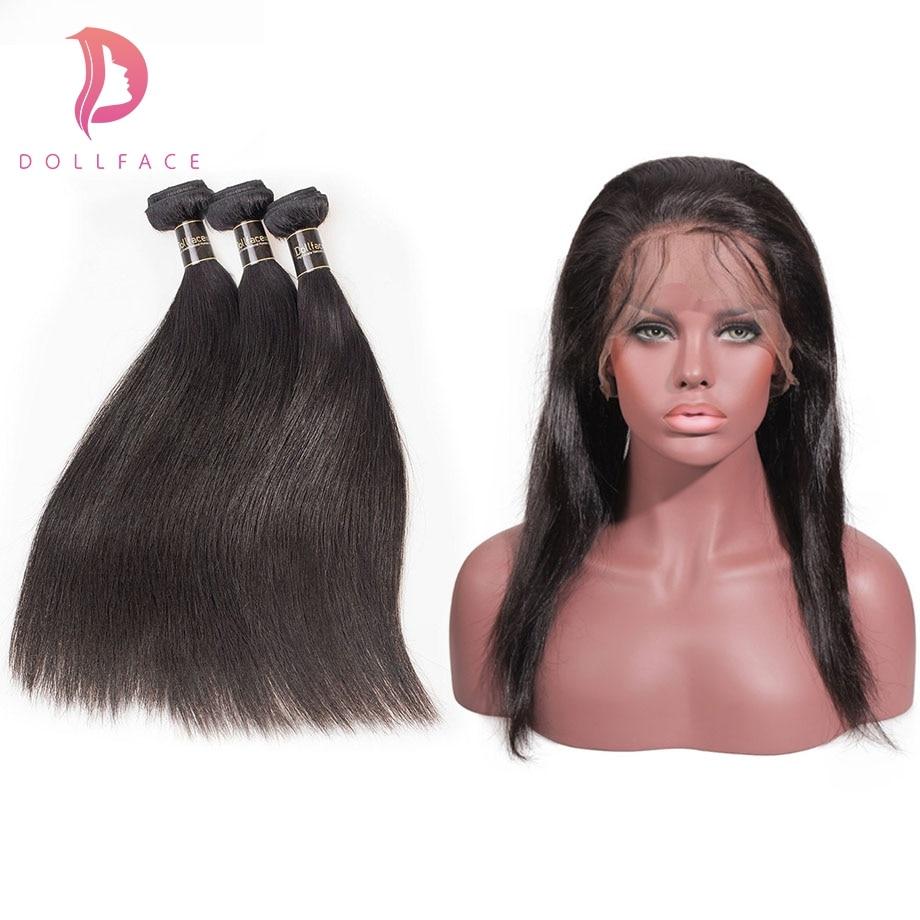 Dollface Malaysische 3 Haar Bundles Mit 360 Verschluss Gerade Menschliches Haar Bundles Mit Frontal Remy Haar Verlängerung Kostenloser Versand Strukturelle Behinderungen Haarsalon Versorgungskette
