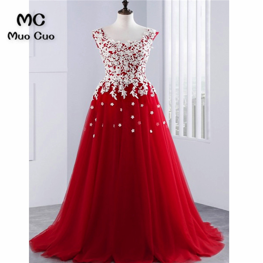 2018 Fashion   Prom     dresses   Long with Appliques Tank   dress   for graduation Sweep Train Scoop Neck Tutu Formal Evening   Prom     Dress