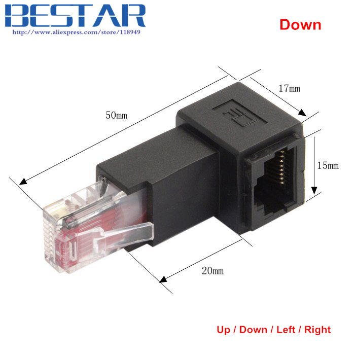 Up & Down & Left & Right Angled 90 Degree 8P8C FTP STP UTP Cat 5e RJ45 Male to Female Lan Ethernet Network Extension Adapter connector plug 90 degree left right up down usb male to female angled l shaped adaptors usb extension adapter