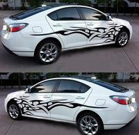 1 Pair Black Car Flame Totem Graphics Side Decal Vinyl Car Body Stickers Cool Waterproof Auto Sticker