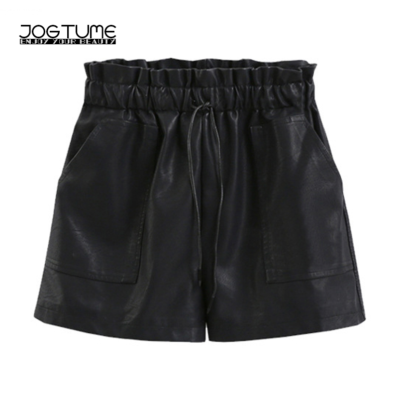 Women Faux Leather   Shorts   High Waist Autumn Winter Black Stretch Baggy PU   Shorts   Feminino Casual Wide Leg   Shorts   Plus Size 5xl