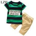 LZH Niño Niños Ropa 2017 Niños Del Verano Ropa de La Raya t-shirt + Pants Niños Chándal Niños Bebés Ropa Set Ropa de los niños