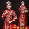 Estilo chino juego de La Espiga Muestran la ropa de traje de novia vestido de estilo chino cheongsam casado rojo formal más el tamaño de vestido vestido de dragón