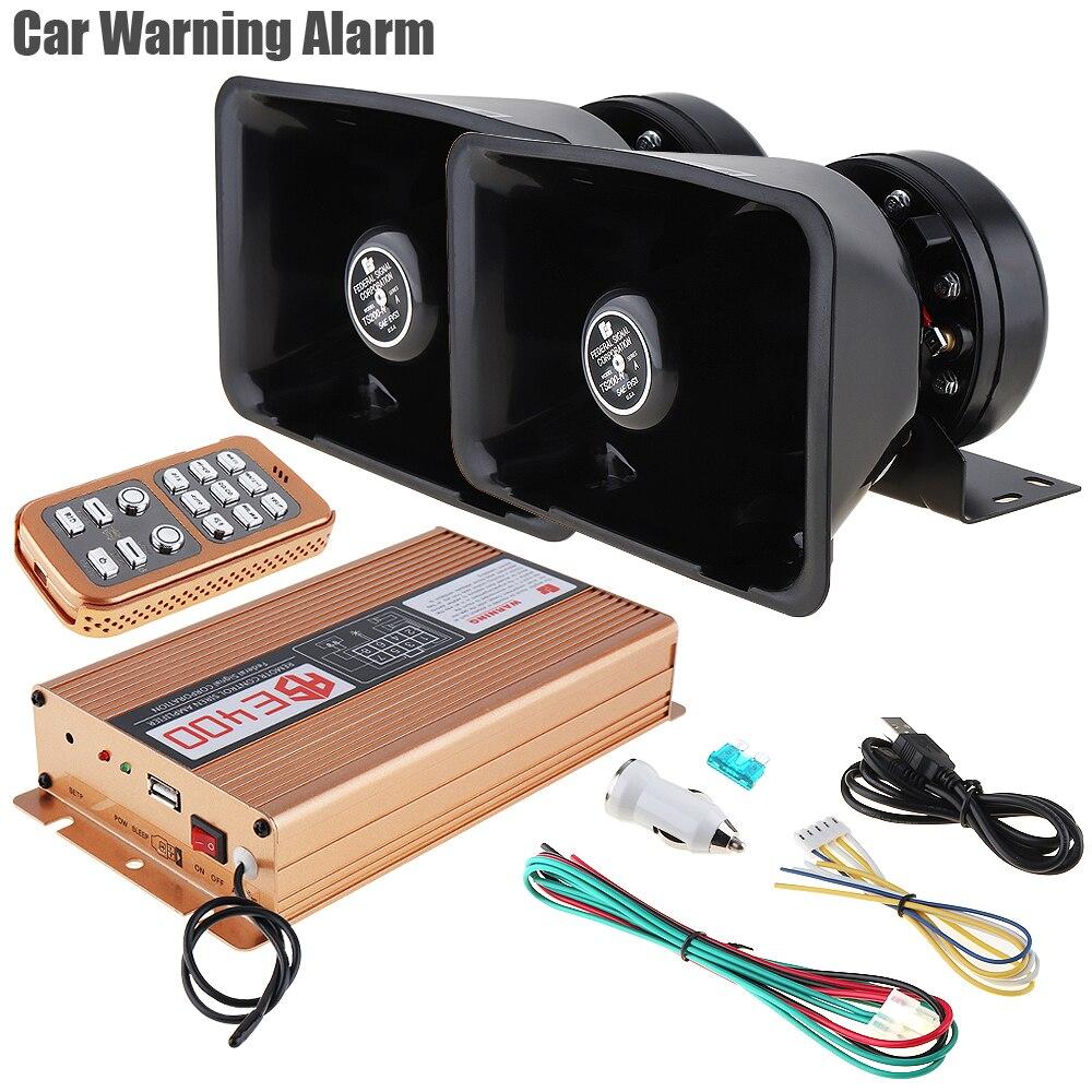 400W Car Warning Wireless Alarm Speaker MIC System PA Siren Horn Loud 18 Sound