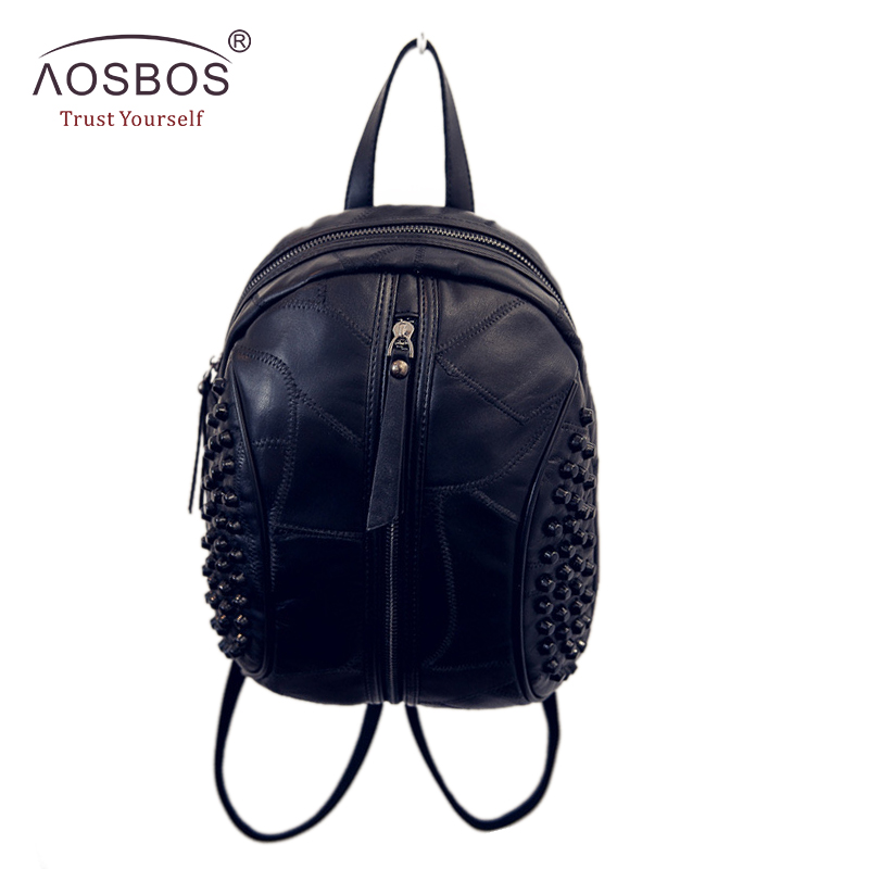 Fashion Women Solid Genuine Leather Backpacks Rivet Patchwork Shoulder Bags Brand Designer Zipper Backpack for Girls Ladies new brand designer women fashion backpacks simple koran style school for teenager girls ladies shoulder bags black