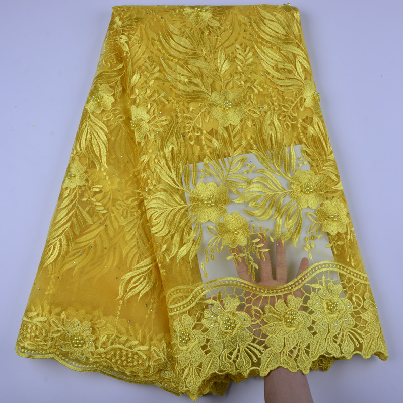 Yellow Color French Nigerian Laces Fabrics High Quality Tulle African Laces Fabric Wedding African French Tulle