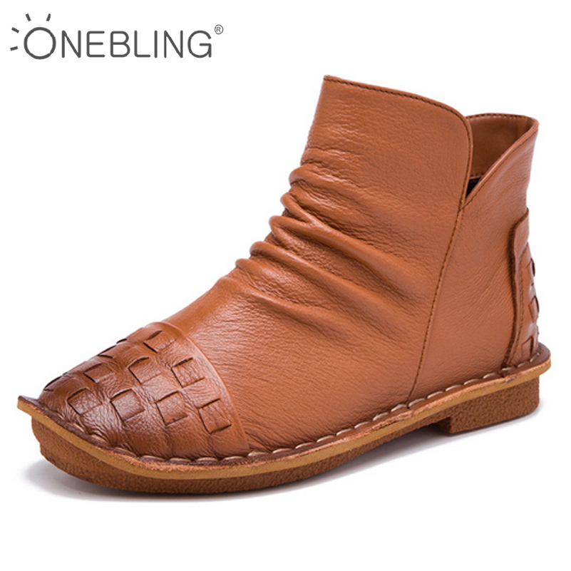 ONEBLING 5 Colors Women Ankle Boots 2017 Autumn Fashion Woven Pleated Zipper Casual Low Heel Flat Shoes Genuine Leather Boots front lace up casual ankle boots autumn vintage brown new booties flat genuine leather suede shoes round toe fall female fashion