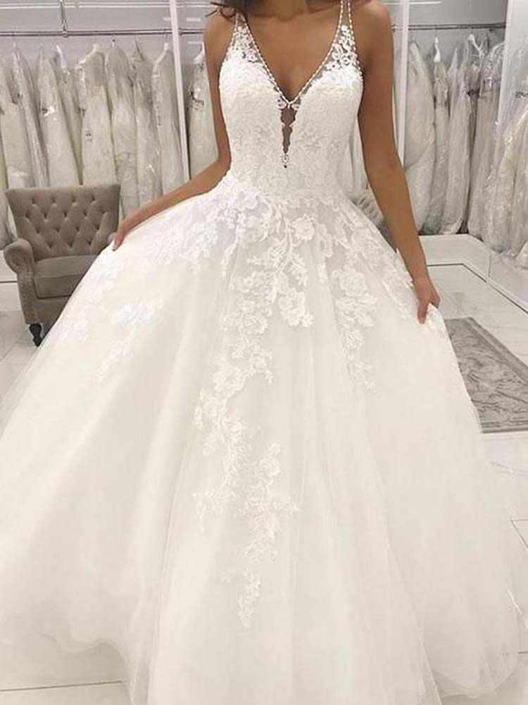 Lace Wedding Gowns Ball Gown V Neck Open Back White Lace Long