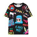 Women Casual Short Sleeve Cartoon Character & Letters Printed T Shirt Black White O-Neck Print Cotton Loose Tee Tops TX2110-C