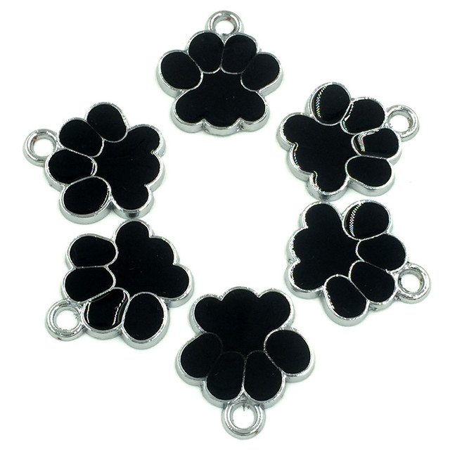 20Pcs Silver Tone Bear's Pat Enamel Black Charms Pendants Jewelry Making 19x17mm 2