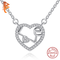 BELAWNAG Authentic 925 Sterling Silver Sweet Heart Pendant Necklaces For Women Romantic Chain Necklaces Fashion Jewelry