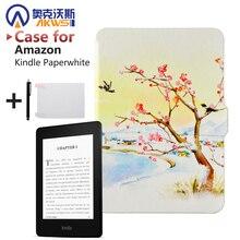 La más nueva Cubierta Funda de piel para Amazon Kindle Paperwhite 1/2 Cierre Magnético + Wake Up and Sleep + Protector de Pantalla + Stylus pluma