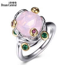 DreamCarnival 1989 Recommend Special Cut Pink Zirconia Ring Braided Style Fashion Jewelry for Women Must Have Party Gift WA11607