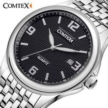 Comtex Новый мужской Часы Мода Наручные Часы Аналоговый Дисплей Кварцевый Механизм Водонепроницаемые Календарных Мужские Часы