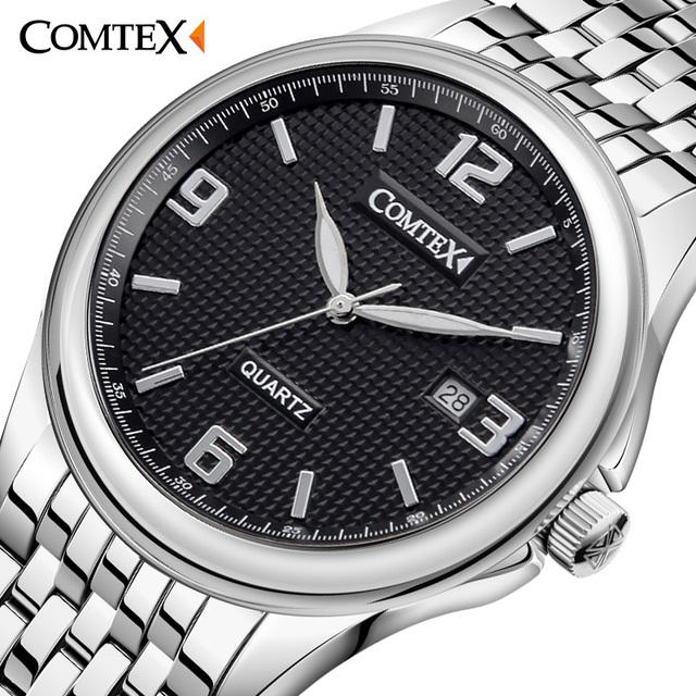 Comtex nuevo reloj de hombre de negocios de moda reloj de pulsera pantalla analógica movimiento de cuarzo calendario impermeable relojes para hombre