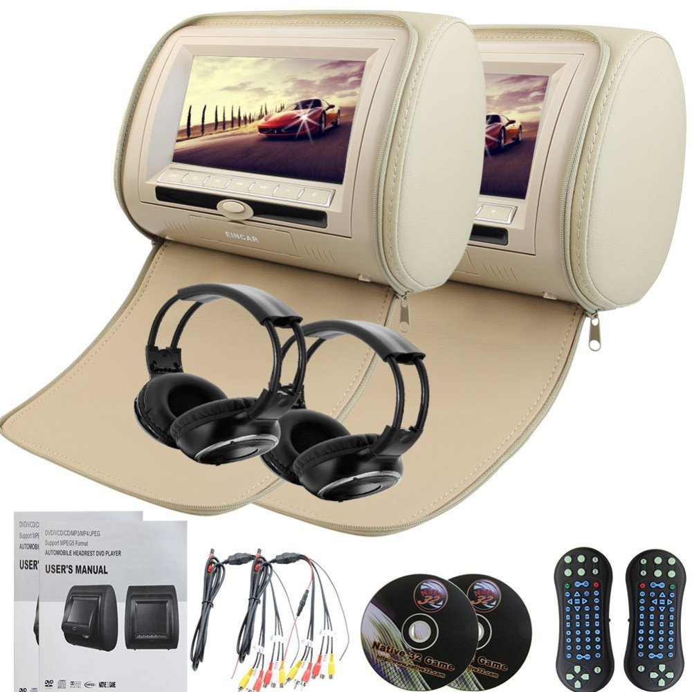7Car Pillow Monitors Pair of Headrest Region Free DVD player Dual Twin Screens USB SD IR FM Transmitter 32 Bit Games+Headphones