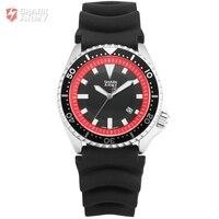 Shark Army Red Dial Black Silicone Strap Military Watch Men Auto Date Calendar Relogio Clock Quartz