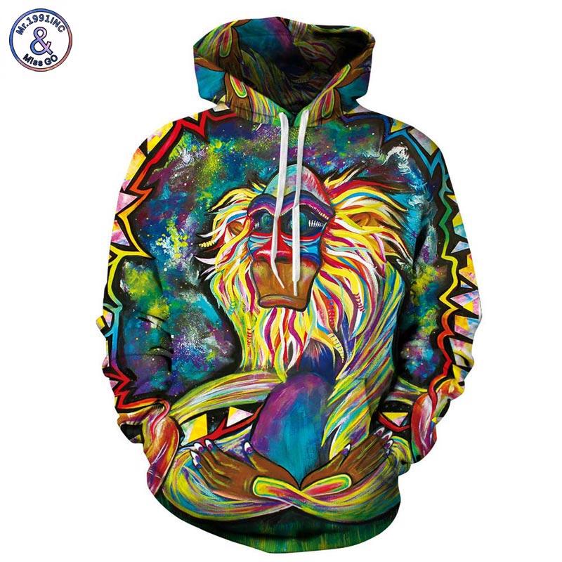 Mr.1991INC Frühling Herbst Dünne Mit Kapuze Hoodies Männer/frauen 3d Sweatshirts Mit Cap Wizard Clown Öl Druck Hoody Hoodies
