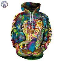 Autumn Winter Thin Hooded Hoodies Men Women 3d Sweatshirts With Cap Print Wizard Clown Oil Printing