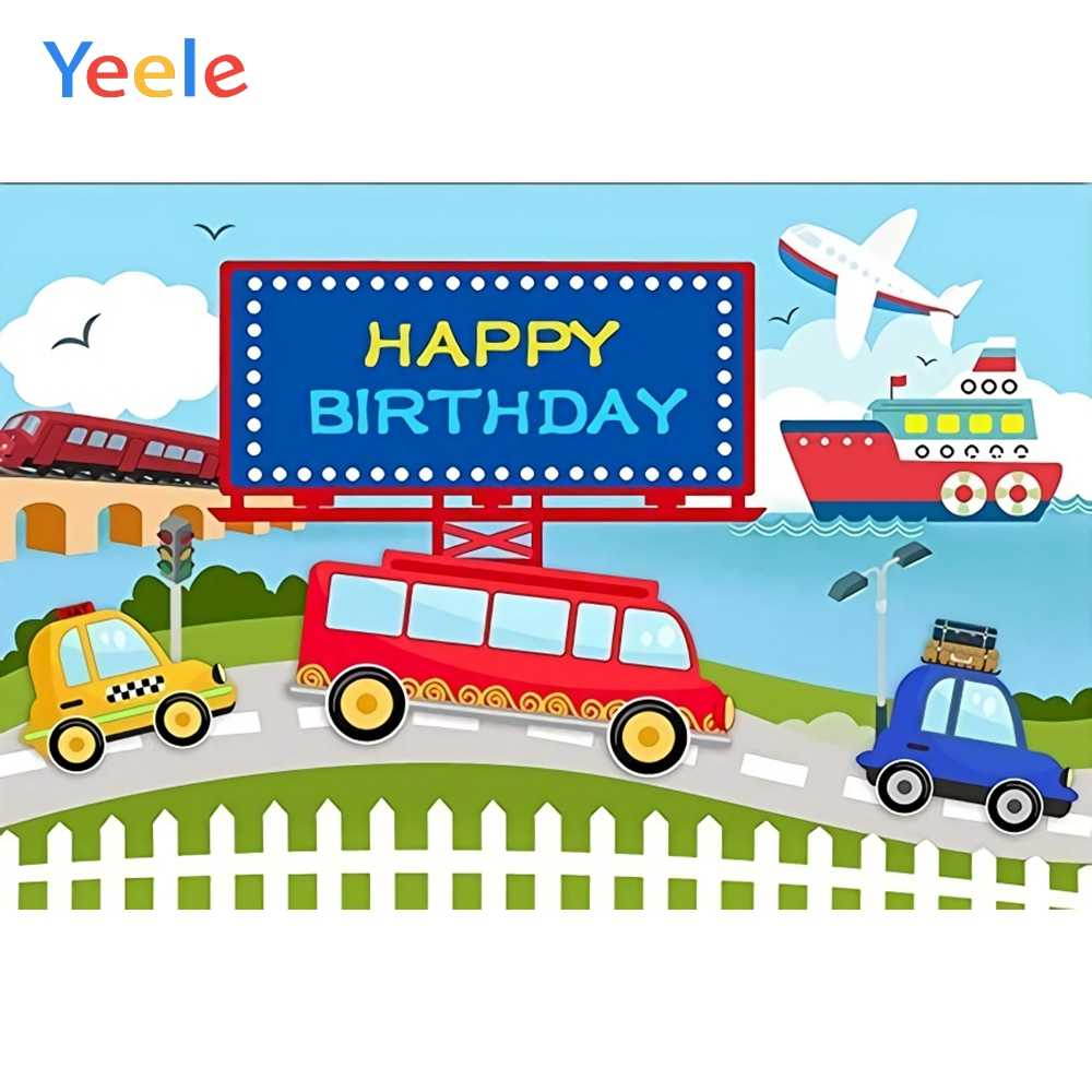 Yeele Transportation Bus Car Airplane Ship Birthday Photography Backgrounds Customized Photographic Backdrops for Photo Studio