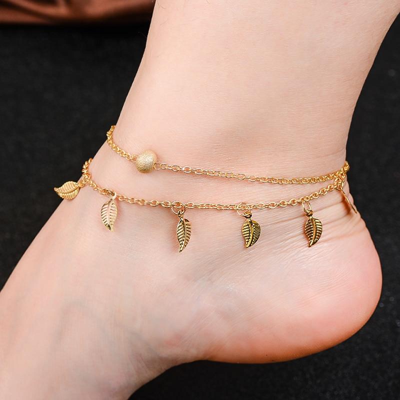 H: HYDE Quente Jóias Acessórios Verão Praia Sandálias Descalças Tornozeleiras para Mulheres Pé tornozelo Pulseira na perna Feminino com Tira no tornozelo