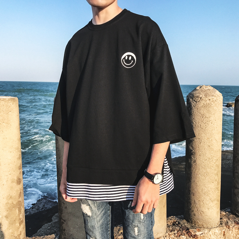 2018 New Arrivals PUSH Fund Printing False Two Paper Seven Part T Short Sleeve Large T Pity tshirt Favourite hip hop fashion