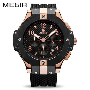 Image 2 - MEGIR Chronograph Sport Watch Men Creative Big Dial Army Military Quartz Watches Clock Men Wrist Watch Hour Relogio Masculino