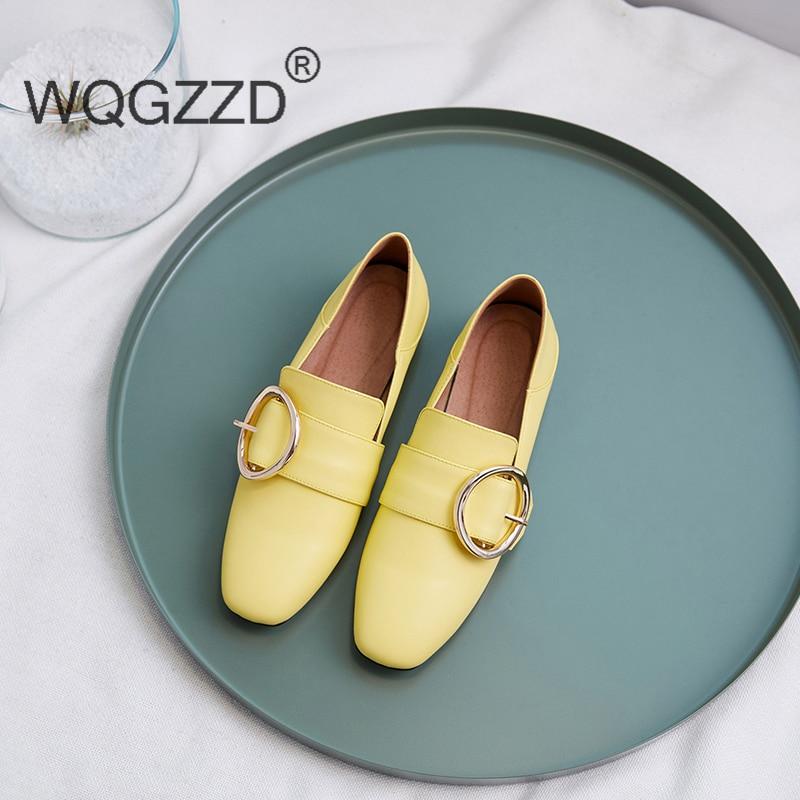2019 Femmes Printemps Chaussures Métal Beige black Mocassins Doux Nouveau Femme Décoration Plates En Véritable Conduite yellow De Cuir XiOPukZ