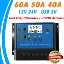 60a 50a 40a controlador solar do carregador 12 v 24 v lcd pwm regulador solar para a bateria lifepo4 do lítio íon ácido ao chumbo para o sistema solar