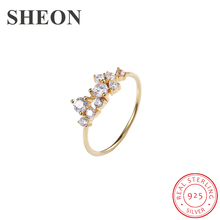 SHEON Gold Color Ring 925 Sterling Silver White Zircon Open Adjustable Rings for Women Wedding & Engagement Jewelry Hot Sale malanda brand luxury gold color excellent white top zircon swan rings for women female hot sale wedding party jewelry gift 2018