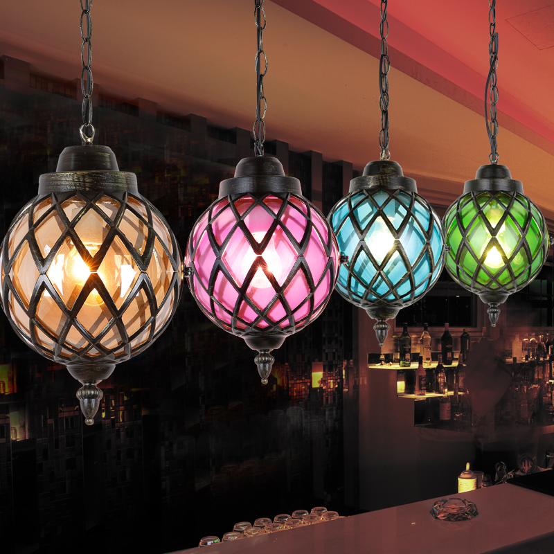 Lamp Sphere Coloured Glass Pendant Light Antique Lampshade Ball Lighting Lights Nordic Fixtures Blue Colorful Round Retro In From
